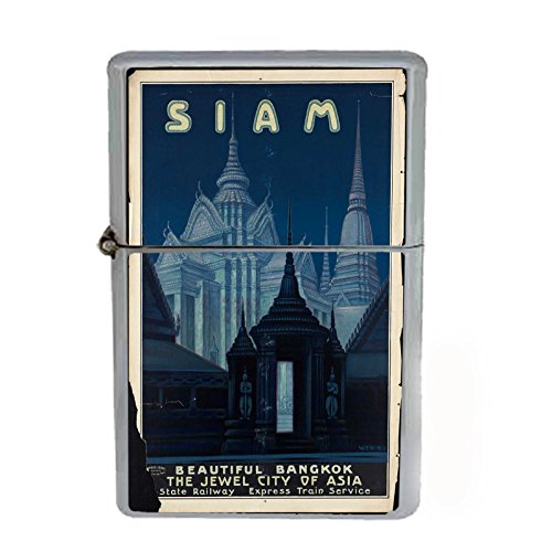 (Wind Proof Dual Torch Refillable Lighter Vintage Poster D-203 Siam Beautiful Bangkok Jewel City of Asia)