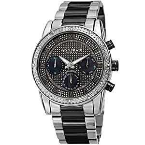 Akribos XXIV Black and Silver Men's Designer Watch - Stylish Round - AK1040TTB