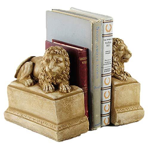 Lion Bookends Home Office and Garden Statues Heavy Duty Shelf Book Ends Decor from Fleur de Lis Garden Ornaments LLC
