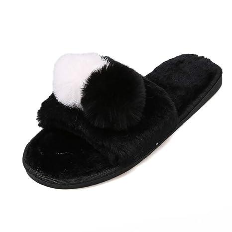 5245158f398f55 Amazon.com  Nafanio Winter Slippers Women Flats Shoes Soft Fur Thicken Home  Plush Flip Flops Faux Fur Slides  Sports   Outdoors