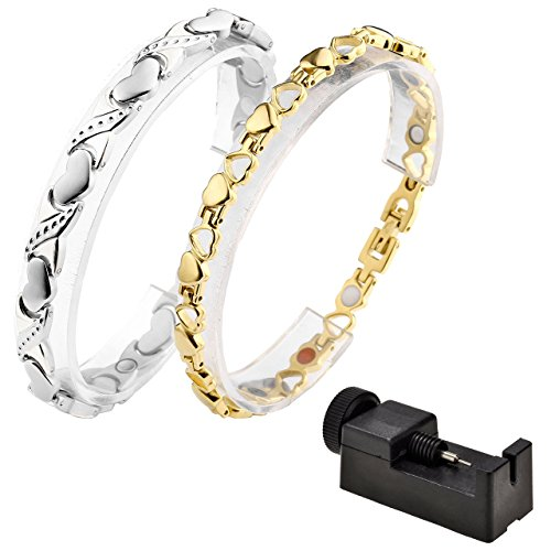 - JOVIVI 2pc Stainless Steel 4 in 1 Womens Wristband Germanium Magnetic Link Chain Bracelet with FREE Links Removal Tool