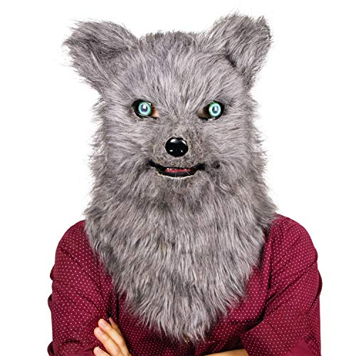 molezu Movable Mouth Fox Mask, Costume Cosplay Mouth Mover Wolf Masks, Plush Faux Fur Suit for Halloween Party (Grey Wolf) ()