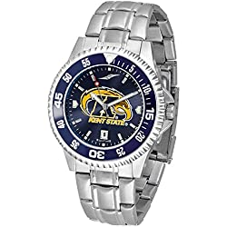 Kent State Golden Flashes Competitor AnoChrome Men's Watch with Steel Band and Colored Bezel by SunTime