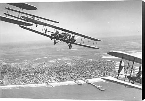 U.S. Army Air Corps Curtiss B-2 Condor Bombers Flying Over Atlantic City Canvas Art Wall Picture, Museum Wrapped with Black Sides, 24 x 17 inches