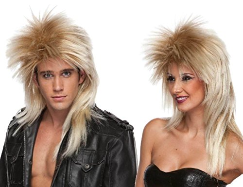 Jovi Elf Halloween Costume (Heavy Metal 80s Rocker Blonde Spiked Adult Costume Wig Rock Star)