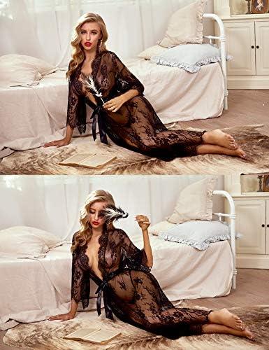 Avidlove Women Sexy Long Lace Lingerie Kimono Robe Sheer Babydoll Nightgown Nightdress