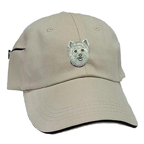 Westie Low Profile Baseball Cap with Zippered Pocket. (Hat Westie)