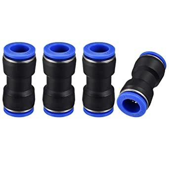 uxcell Plastic Elbow Push to Connect Tube Fitting 12mm Tube OD Pneumatic Air Push Fit Lock Fitting Blue 10pcs