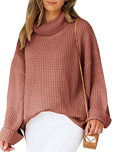 Misassy Womens Turtleneck Oversized Pullover Sweaters Casual Loose Slouchy Bell Sleeve Knitted Jumper Tops (Medium, Brick Red) ()