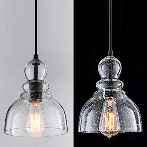 Lanros Industrial Mini Pendant Lighting with Handblown Clear Seeded Glass Shade, Adjustable Edison Farmhouse Kitchen Lamp for Kitchen Island, Restaurants, Hotels and Shops, 1-Pack by LANROS (Image #3)