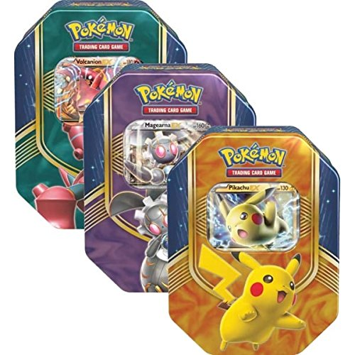 (General Pokemon TCG: Battleheart Tin (Pikachu), Pokemon Mewtwo EX Triple Power Tin, and Shiny Kalos Tin Zygarde)
