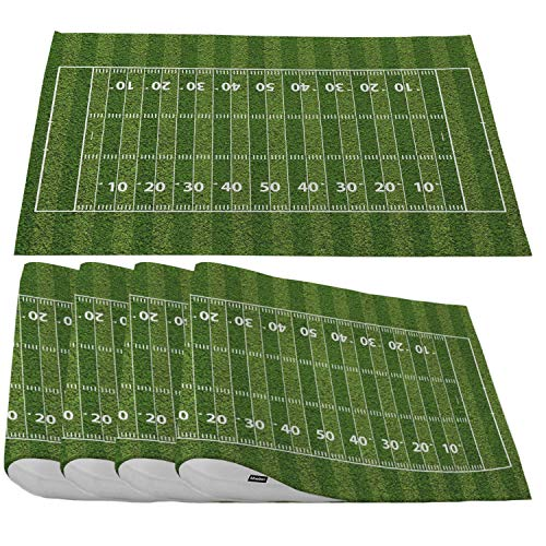 Moslion American Football Field Placemats,Green Place Mats for Dining Table/Kitchen Table,Waterproof Non-Slip Heat-Resistant Washable Indoor Outdoor Dinner Table Mats,Set of 4