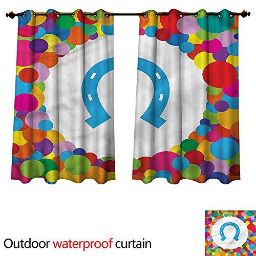 cobeDecor Horseshoe Home Patio Outdoor Curtain Ball Colorful Celebration W55 x L72(140cm x 183cm)