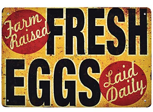- Flytime Farm Fresh Eggs Raised Rustic Metal Sign Retro Bar Country Home Bedroom Wall Restaurant Hanging Signs 8X12Inch