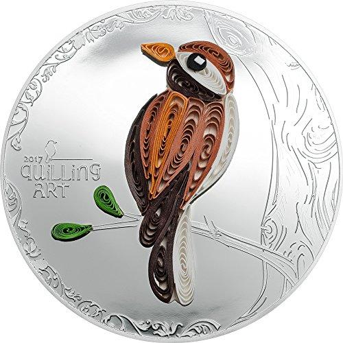 2017 CK Quilling Art PowerCoin BIRD Silver Coin 2$ Cook Islands 2017 0.5 Oz Proof (Silver Ounce 0.5 Coin)