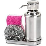 mDesign – Dispensador de jabón líquido recargable – Dosificador de jabón de acero inoxidable pulido – Dispensador de jabón de manos con soporte para esponjas y estropajos – Estropajo incluido gratis