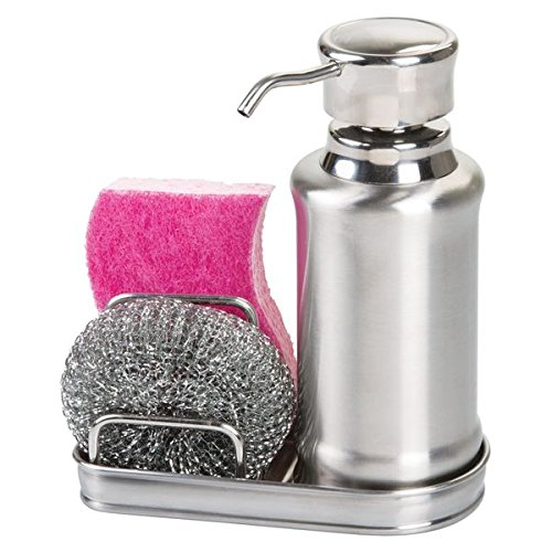 mDesign Refillable Soap Dispenser - Soap Dispenser Stainless Steel - Soap Dispenser Set With Holder for Sponge and Scraper - Includes Free Scraper MetroDecor