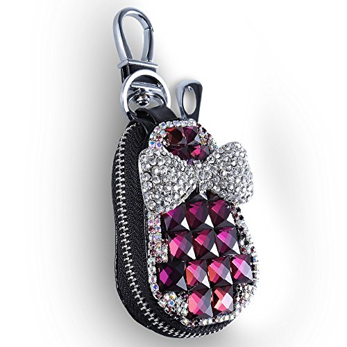 (COOCHEER Car Key Case Gourd Leather Holder Cover Case with Luxury Shining Glitter Crystal Rosette Diamond Rhinestones Purpl 3D Handmade (Purple))
