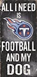 Tennessee Titans Wood Sign - Football And Dog 6''x12''