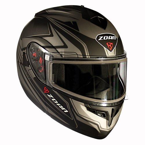 Zoan Optimus Snow Eclipse Silver Dual Lens Modular Flip Up Snowmobile Riding Helmet - Eclipse Helmet Modular Snow
