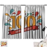 100th Birthday Curtain for Living Room Grannies Lived for Centuries 100 Birthday Party Growing Old Digital Image Modes Darkening Curtains Multicolor W55 x L39