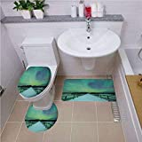 iPrint Bath mat Set Round-Shaped Toilet Mat Area Rug Toilet Lid Covers 3PCS,Northern Lights,Long Mystic Sky Over Bridge in Snowy Arctic Frozen River Image,Lime Green Petrol Blue,Pattern Rug Set