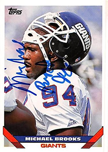 Michael Brooks autographed Football Card (New York Giants) 1993 Topps #499 - NFL Autographed Football Cards