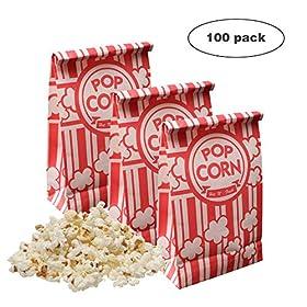 Keriqi Popcorn Bags, 2 oz Flat Bottom Paper Popcorn Bags for Family Movie Night Baseball Themed Carnival Birthday Party 100 Pcs