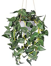 WXBOOM 1pcs Small Artificial Hanging Plants, Fake Hanging Plants Patio Decor, Fake Ivy Vine with Gray Pot for Indoor Outdoor Decoration