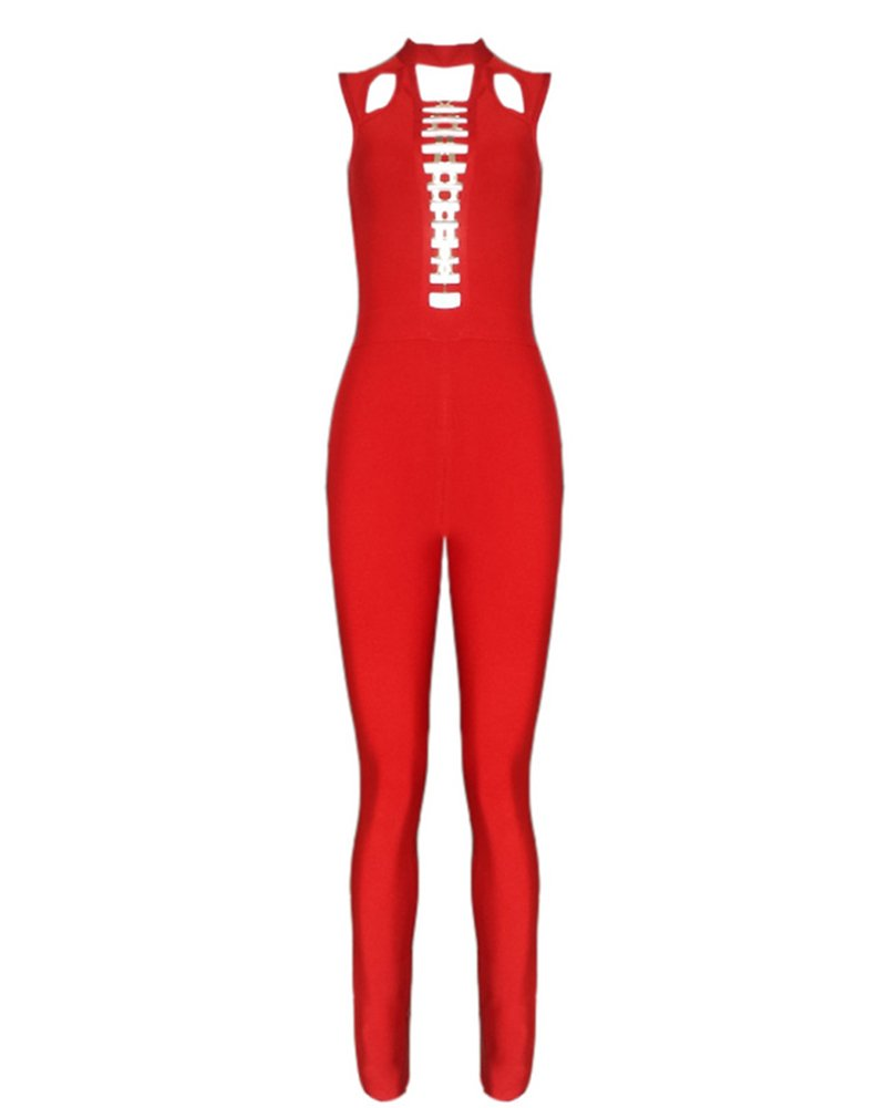 Whoinshop Women's Sleeveless Cut Out Front Lace Up Club Bandage Jumpsuit Romper Red L