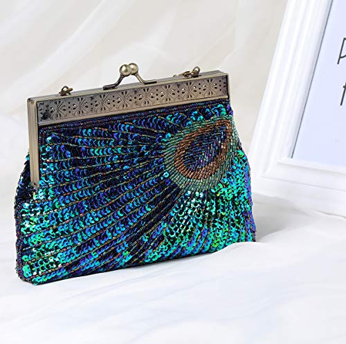 Evening Peacock Beaded Bag Sequined Handbag Gatsby 2 1920s Flapper BABEYOND Clutch Style fwHEYYq