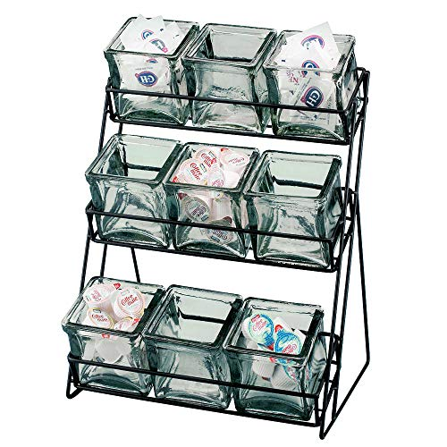 - Cal-Mil 1812-13 3-Tier Wire Jar Frame w/ 9 Glass Jars, Black