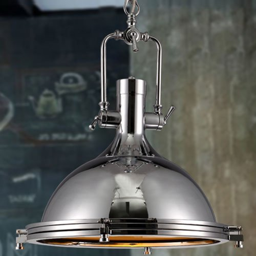 Industrial Nautical Style Single Pendant Light - LITFAD 15.75'' Wide Pendant Lamp with Frosted Diffuser Mounted Fixture Chandelier in Chrome