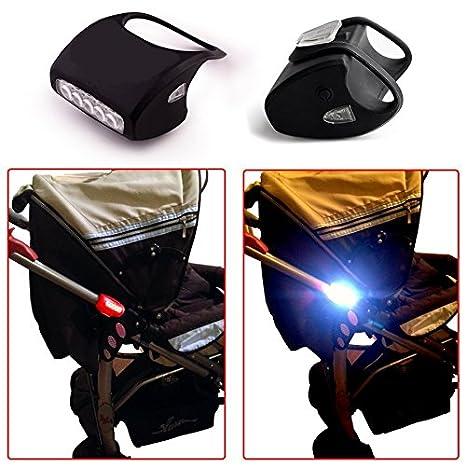 Carrito de luz negro doble (2 pcs) de silicona con diseño de 7 LED ...