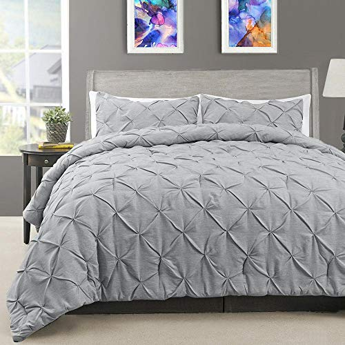 Cardinal & Crest 2-Piece Pinch Pleat Comforter Set - Down Alternative Comforters Elegant Pin Tuck Diamond Design - Wrinkle Resistant Microfiber Bed Set Twin/Twin XL Size Heathered Grey