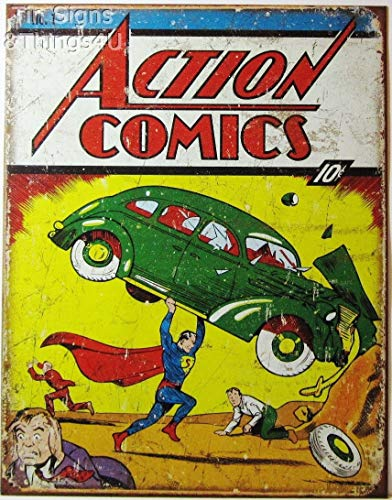 ShopForAllYou Vintage Decor Signs Superman Action Comics VTG Book Cover Metal Poster TIN Sign dc Wall Decor #1965