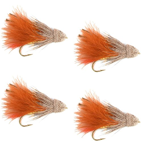 The Fly Fishing Place Streamers - Brown Marabou Muddler Minnow Streamer Flies - 4 Fly Fishing Flies - Hook Size 4