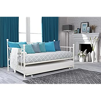 DHP Manila Daybed Metal Frame with Trundle, Twin Size - White