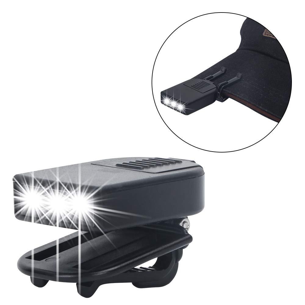 YIWU CITY FEISINUO FISHING CO LTD Pack of 2 FISHNU 2pcs Cap Lamp,3 LED Mini Size Clip on Cap Light,Map Book Reading Hat Visor Lights,10 X 2032 Batteries for Free