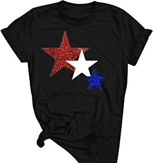 ANJUNIE Women Five Pointed Star Printing T Shirt Short Sleeve O Neck Tops Blouse(Dark Gray,XXXL)