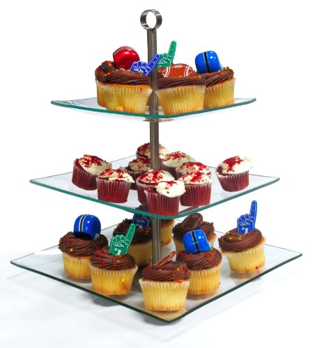 Imperial Home Stylish Glass Cupcake Stand - 3 Tier Desert / Cake Stand Party Display