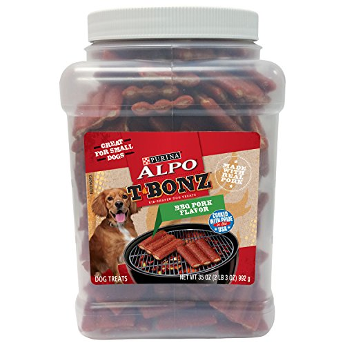 Purina Alpo T-Bonz Bbq Pork Flavor Rib-Shaped Dog Treats, 35-Ounce Canister, Pack Of 1