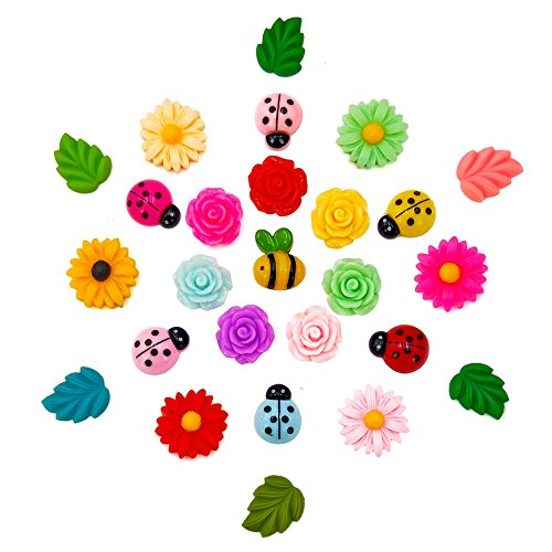 30 Pcs Decorative Thumbtacks Colorful Floret Daisy Rose Beatles and Bees Pushpins for Feature Photo Wall Whiteboard Corkboard Holding Paper Family School Office Design Drawing Pin (30ROSE) by DMIDEA