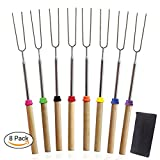 Premium Marshmallow Roasting Sticks Set Smores Skewers Telescoping Forks – 6 Extendable Steel Hot Dog Fire Pit, Camping, Campfire, Bonfire & Outdoor Cookware Kit —Tektree