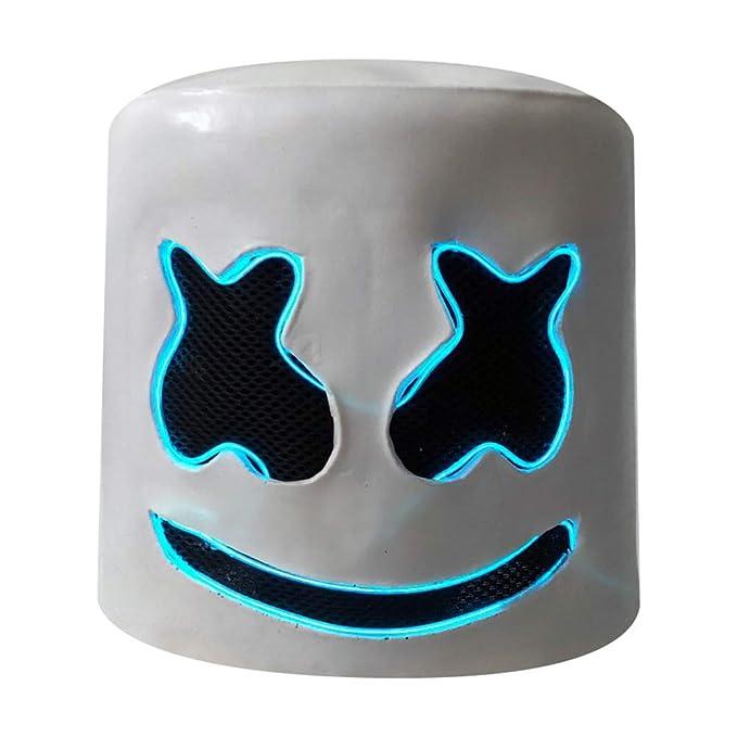 yacn DJ Helmet & DJ Led Mask, Festival de música Full Head Helmets Latex Mask (Azul)