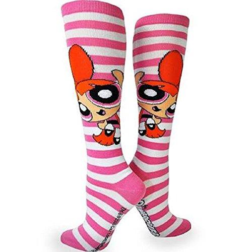 Powerpuff Girls-Rugby Knee High Cosplay Socks-1 Pair-Size 4-10-Blossom (Blossom Powerpuff Girl Costume)