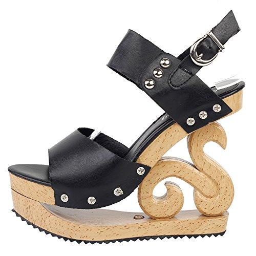 sabots Sexy goujon cales plate forme l'établissement LF30831 Voir Slingback histoire bois Look sandales Noir en 1UEPHnI
