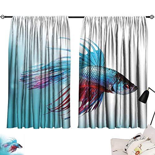 Durable Curtain Aquarium Siamese Fighting Betta Fish Swimming in Aquarium Aggressive Sea Animal Printing Insulation W55 xL45 Sky Blue Dark Coral
