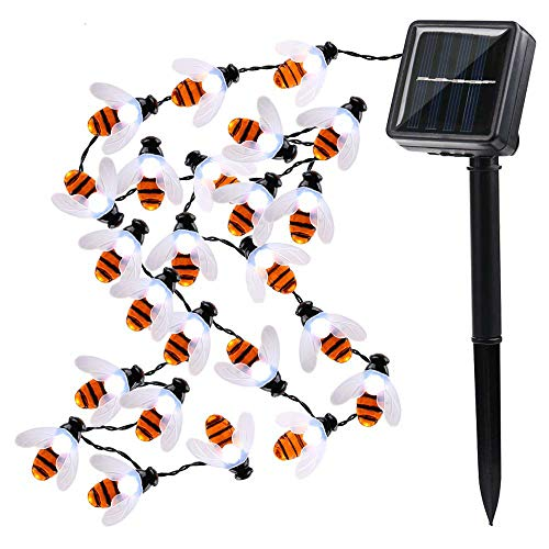 Solar String Lights Honeybees 19.7ft 30 LED 8 Modes Solar Garden Lights Waterproof Solar Powered Fairy Lights for Outdoor Garden Decor(White) (On A Bee String)