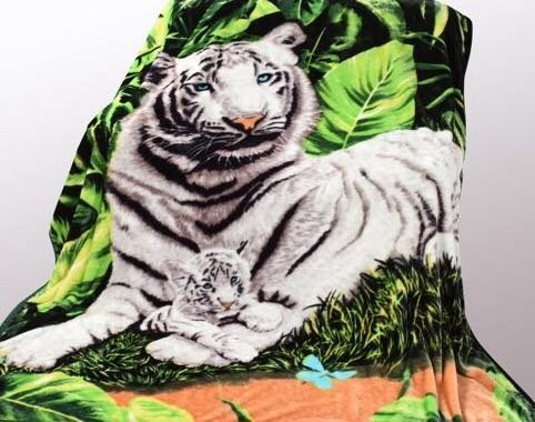 Tiger Print Throw (Wild Animal White Tiger Print Blanket , TV, Cabin, Couch,Plush,Warm, Bedcover Throw , Full Queen, 75